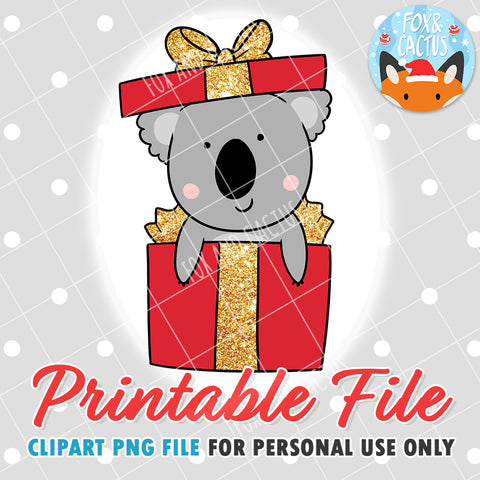 Christmas Koala (DIGITAL DOWNLOAD) - Printable/Clipart File - Personal Use Only