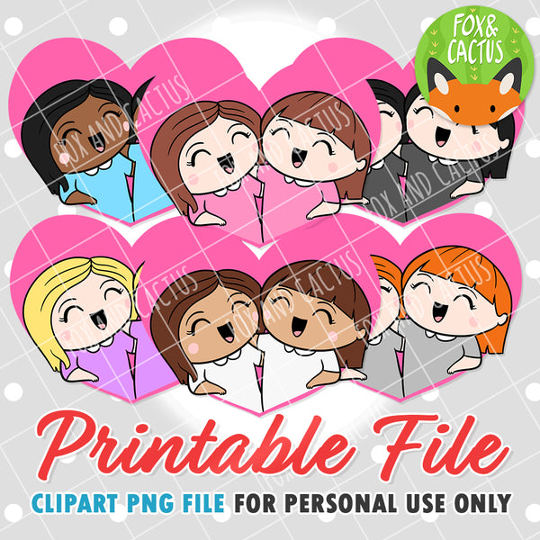 Female + Female Couples (DIGITAL DOWNLOAD) - Printable/Clipart File - Personal Use Only