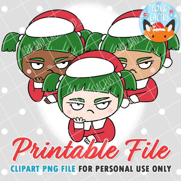 Grumpy Christmas Girls (DIGITAL DOWNLOAD) - Printable/Clipart File - Personal Use Only