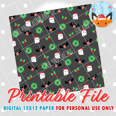 Spooky Christmas 12x12 Digital Paper (DIGITAL DOWNLOAD) - Printable/Clipart File - Personal Use Only
