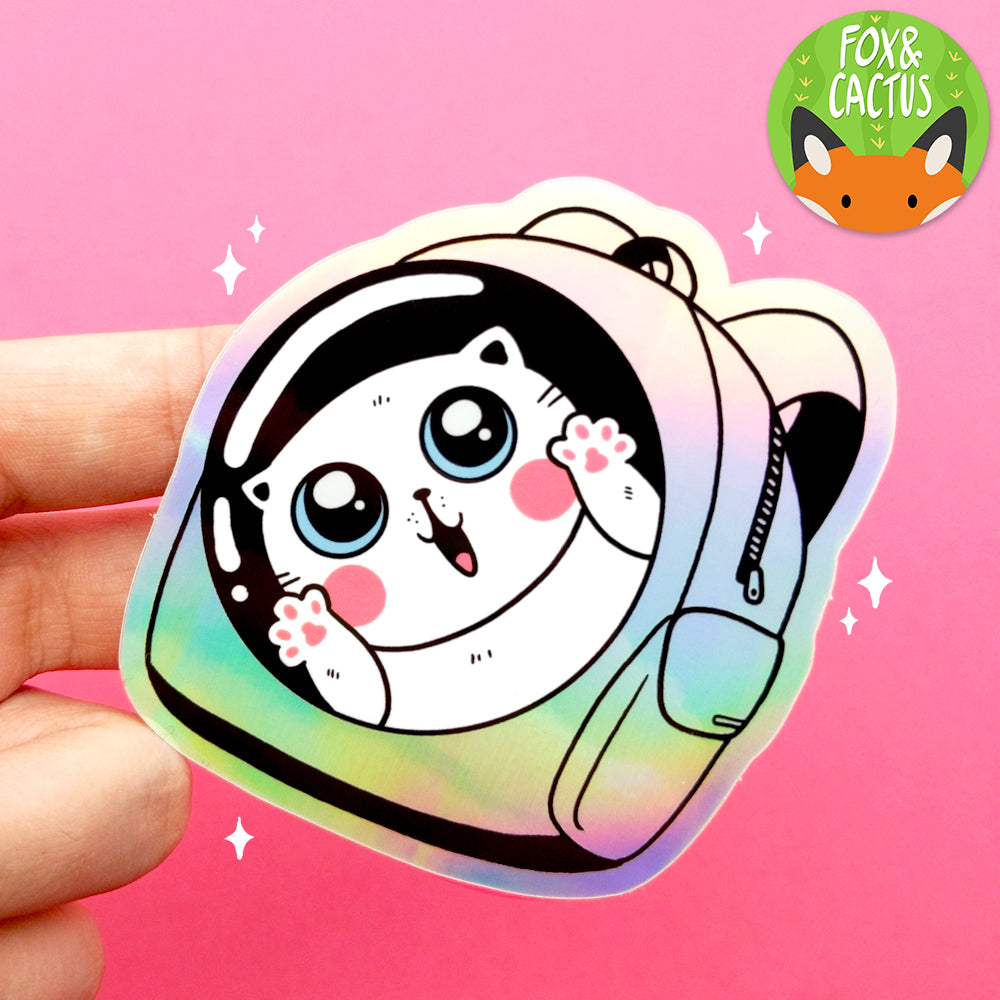 Holographic Backpack Cat Vinyl Die Cut Sticker (ST0103)