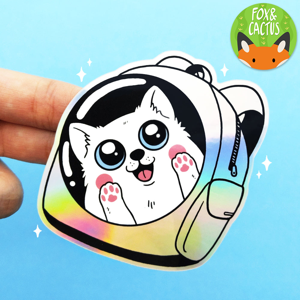 Holographic Backpack Dog Vinyl Die Cut Sticker (ST0117)