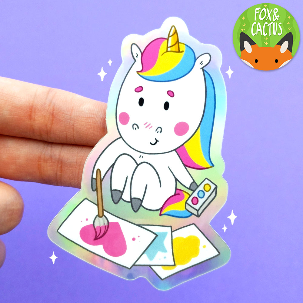 Holographic Art Unicorn Vinyl Die Cut Sticker (ST0104)