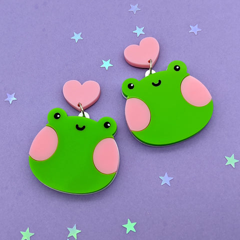 Froggy Dangle Earrings (Green) (AC0021)