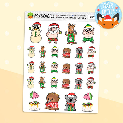 Aussie Christmas Character Stickers (C0038)