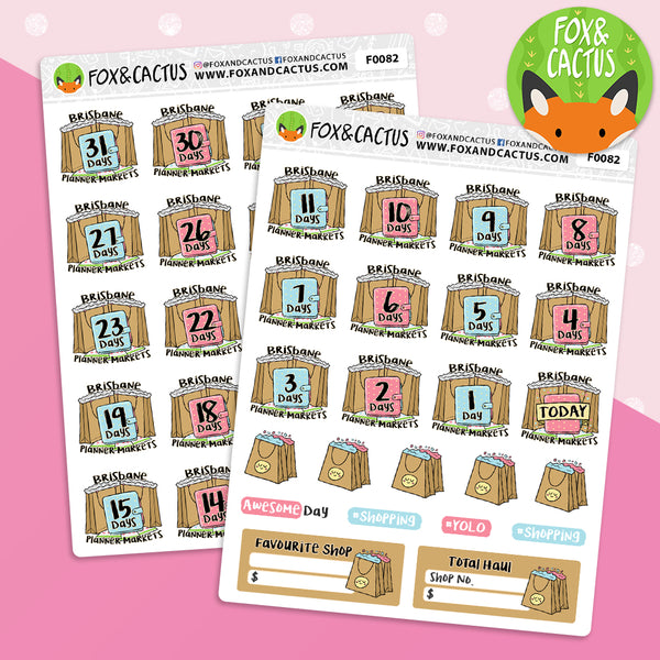 Brisbane Planner Markets (2 sheets) DAILY countdown Stickers (F0082)