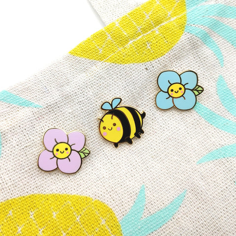Spring Bee (Set of 3) Enamel Pins (ST0078)
