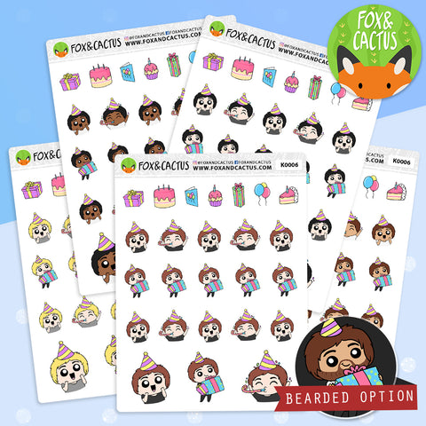 Birthday Kawaii Guy Stickers (K0149)