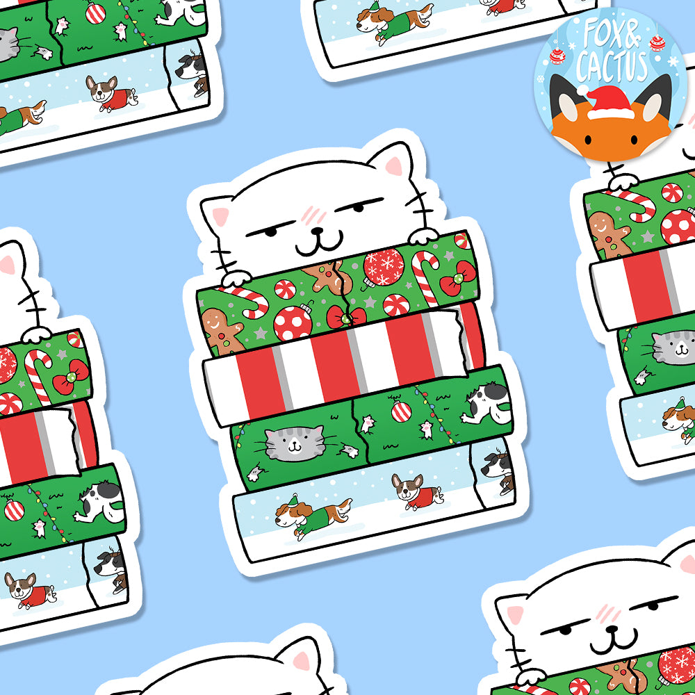 Christmas Washi Stack Cat Vinyl Die Cut Sticker (ST0067)