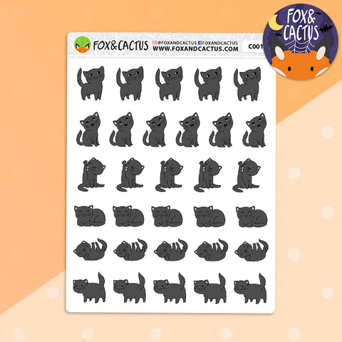 Halloween Black Cat Stickers (C0010)