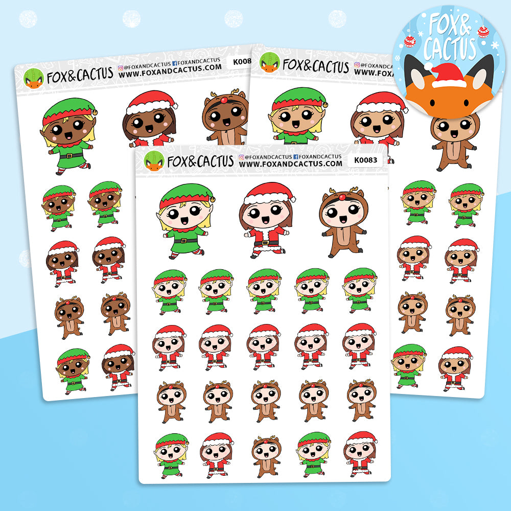 Christmas Costume Kawaii Girl Stickers (K0083)