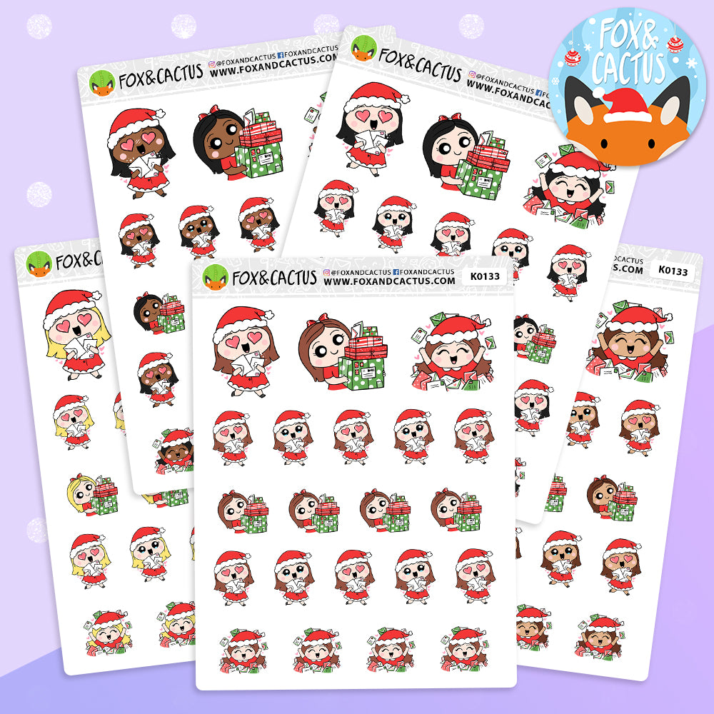Christmas Happy Mail Kawaii Girl Stickers (K0133)