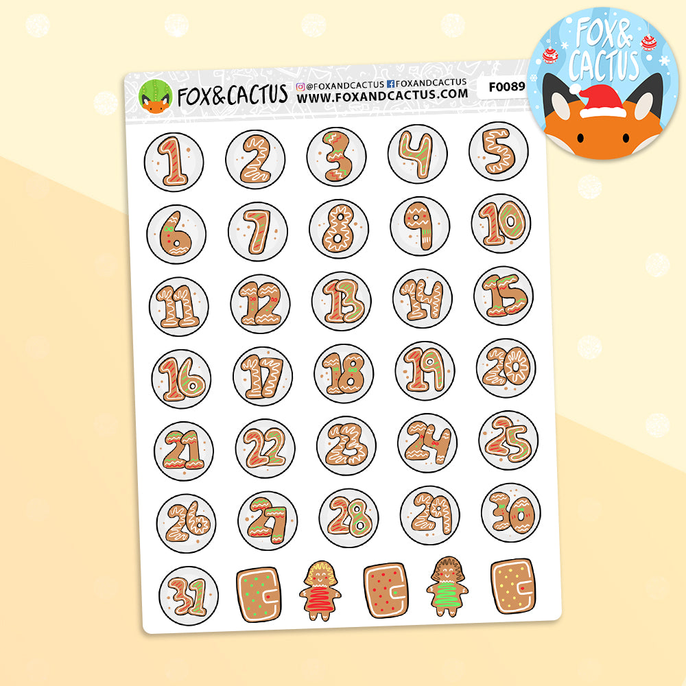 Christmas Gingerbread Countdown Stickers (F0089)