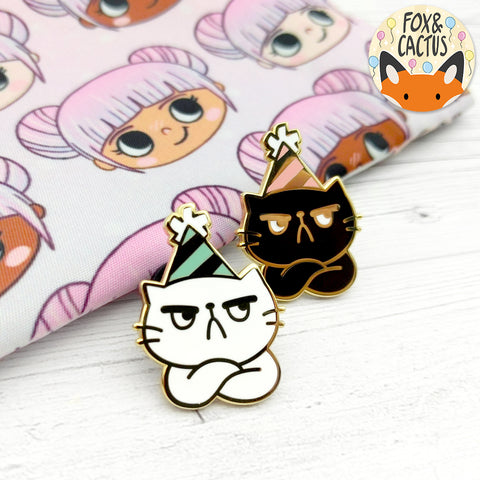 Grumpy Party Cat Enamel Pins (ST0090)