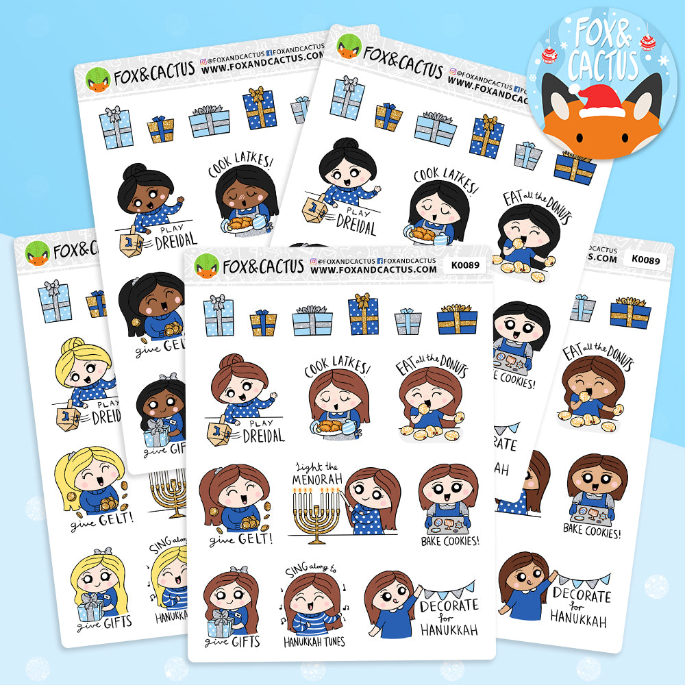 Hanukkah Bucket List Kawaii Girl Stickers (K0089)
