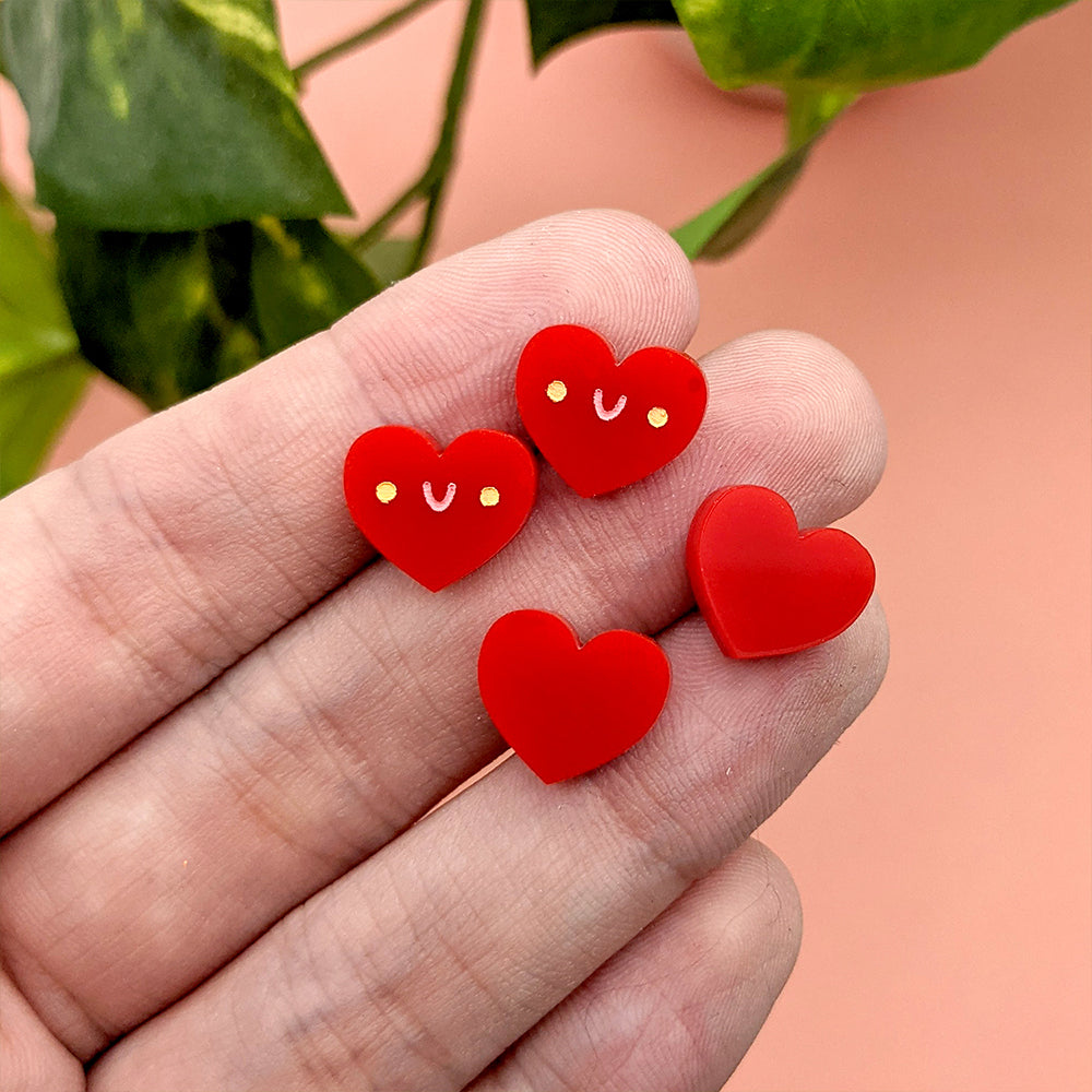 Itty Bitty Heart (Kawaii Red) Stud Earrings (AC0089)