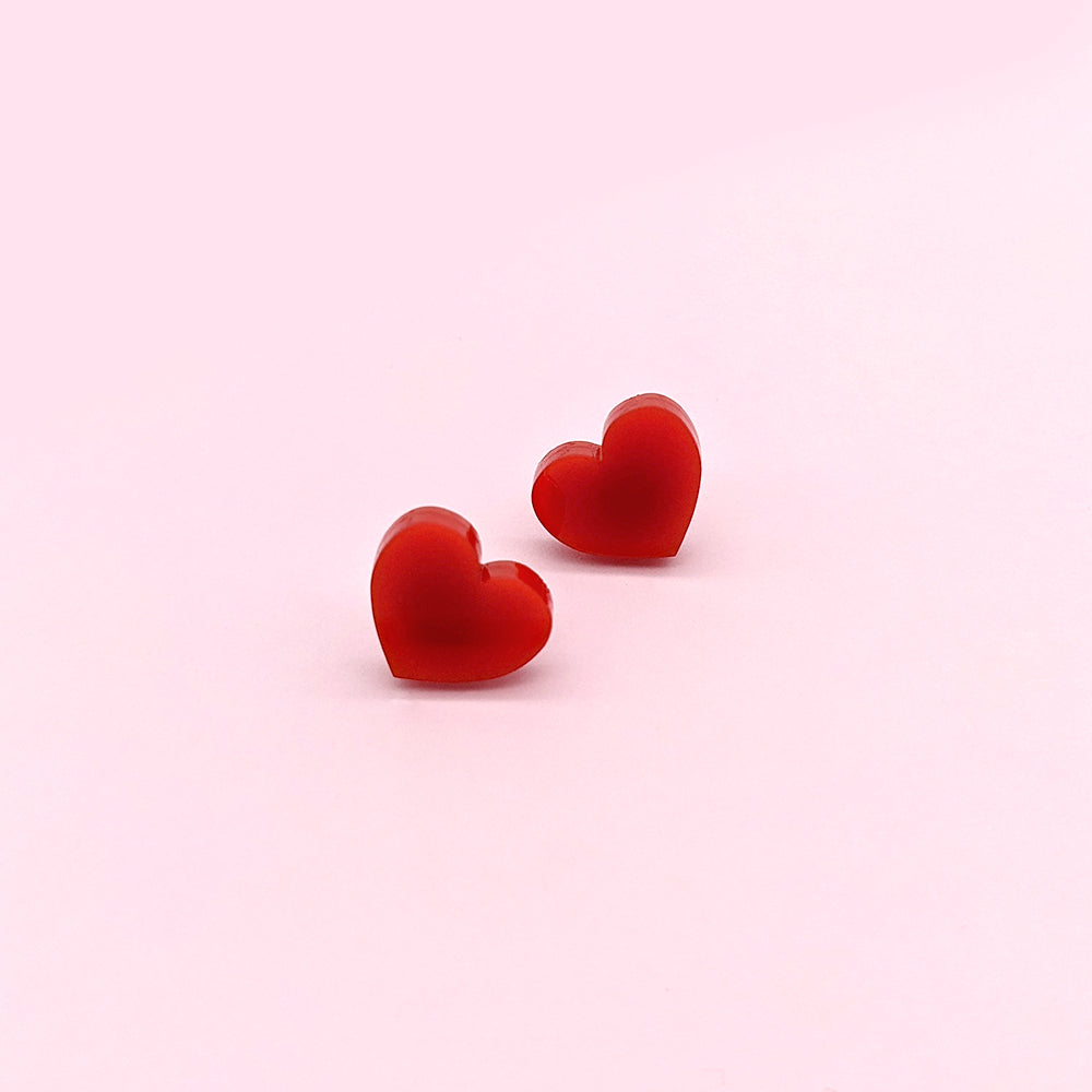 Itty Bitty Heart (Red) Stud Earrings (AC0089)