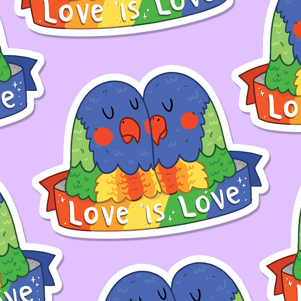 Love is Love Lorikeets Vinyl Die Cut Sticker (ST0082)