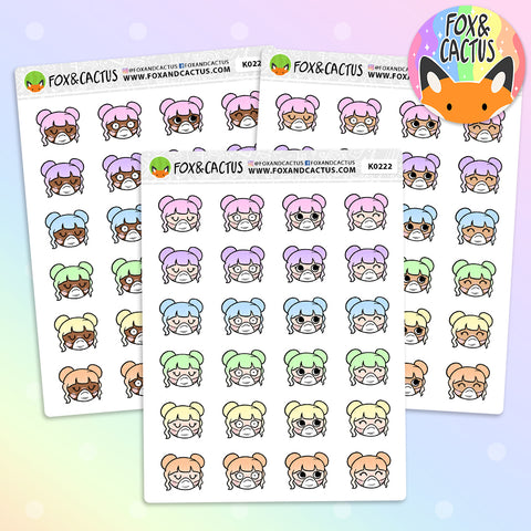 LIMITED Rainbow Masked Kawaii Girl Stickers (K0222)