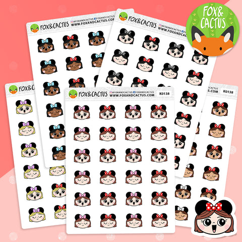 Mouse Ear Kawaii Girl Stickers (K0138)