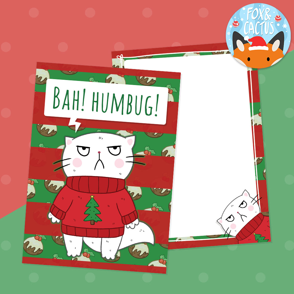 Bah Humbug Cat Double Sided A6 Postcard (ST0068)