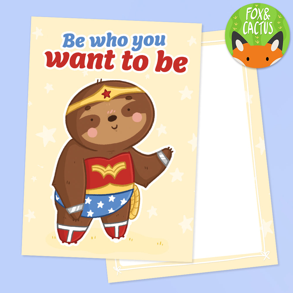 Wonder Sloth Double Sided A6 Postcard (ST0155)