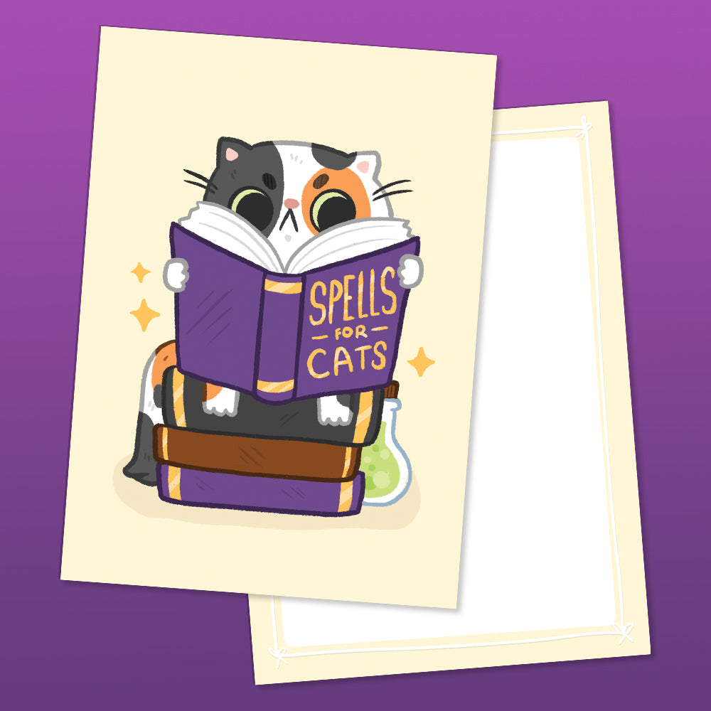 Spellbook Cat Double Sided A6 Postcard (ST0202)