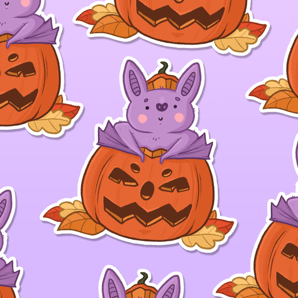 Pumpkin Bat Vinyl Die Cut Sticker (ST0183)