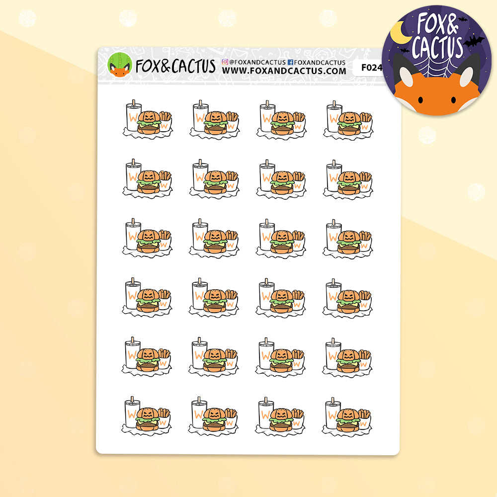 Spooky Burger Meal Stickers (F0245)