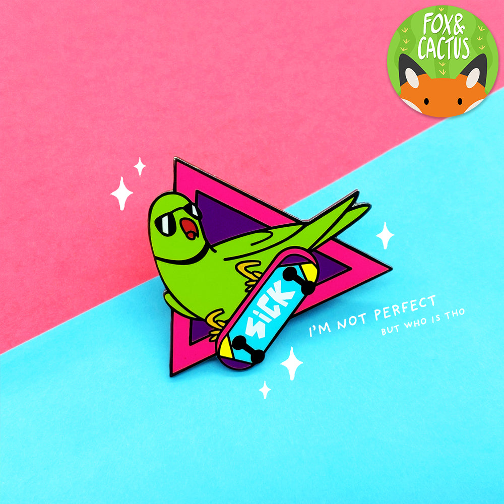 Green Rad Bird Enamel Pin (ST0077) (Slight Imperfections)