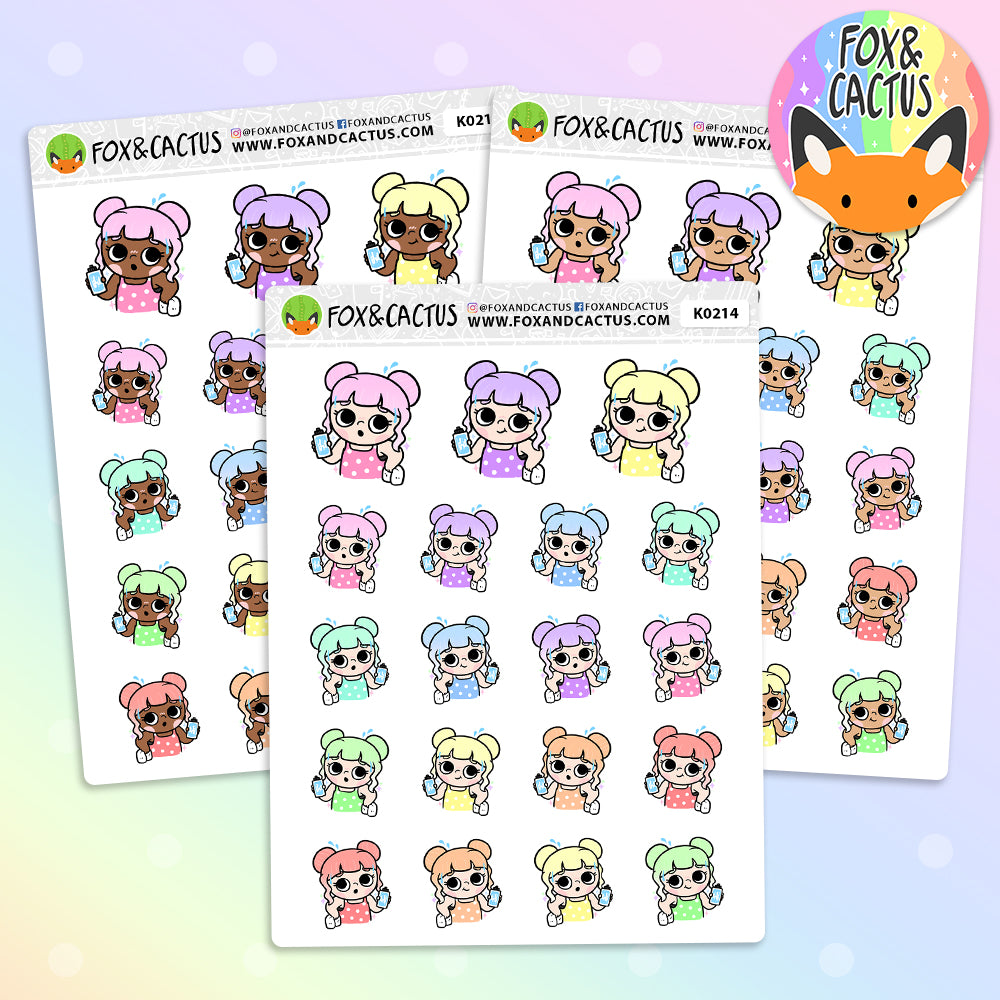 LIMITED Rainbow Fitness Kawaii Girl Stickers (K0214)