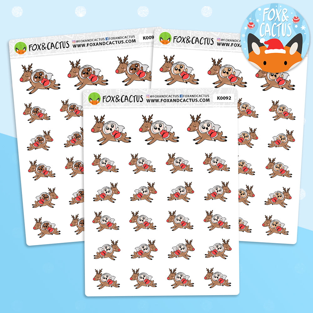 Rude Finger Reindeer Kawaii Girl Stickers (K0092)