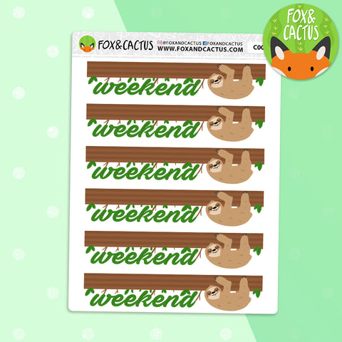 Sloth Weekend Banner Stickers (C0023)