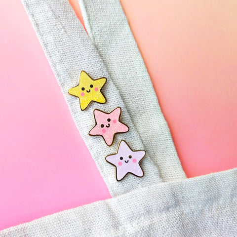 Kawaii Stars (Set of 3) Enamel Pins (ST0033)