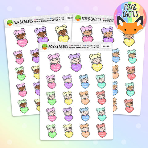 LIMITED Rainbow Stayed at Home Kawaii Girl Stickers (K0219)