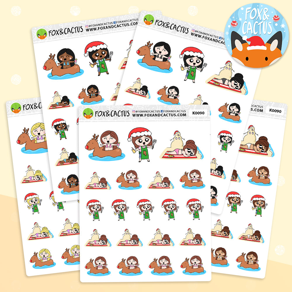 Summer Christmas Kawaii Girl Stickers (K0090)