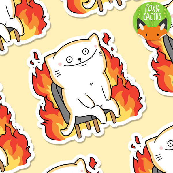 This is Fine Cat Vinyl Die Cut Sticker (ST0019)