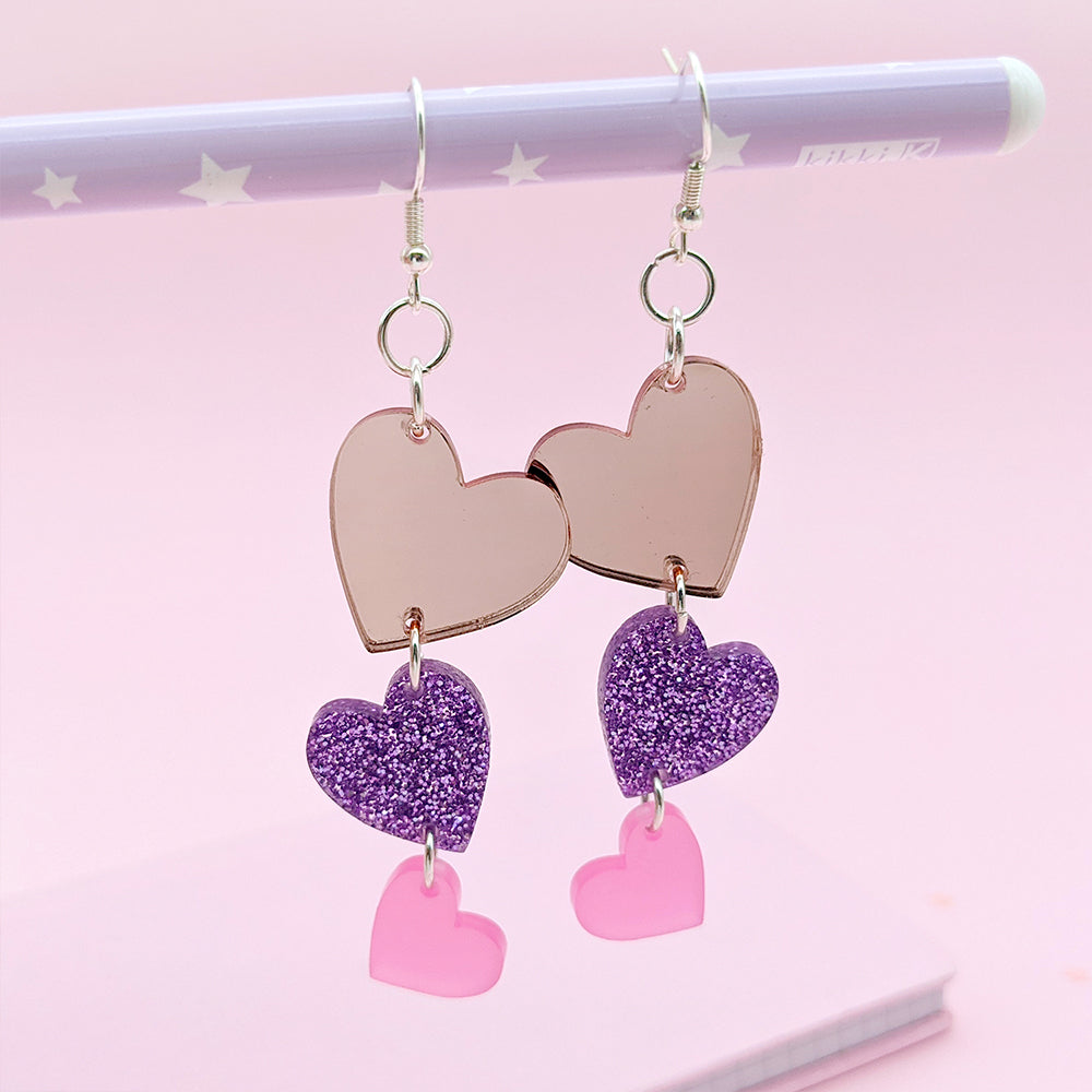 Heart Drop Dangle Earrings (AC0102)
