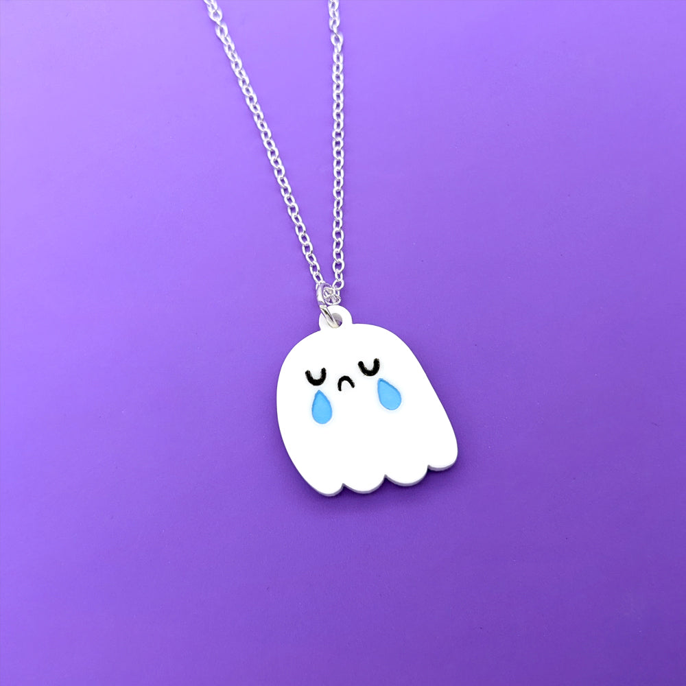 Ghost Acrylic Necklace (3 Ghost Expressions Available) (AC0071)