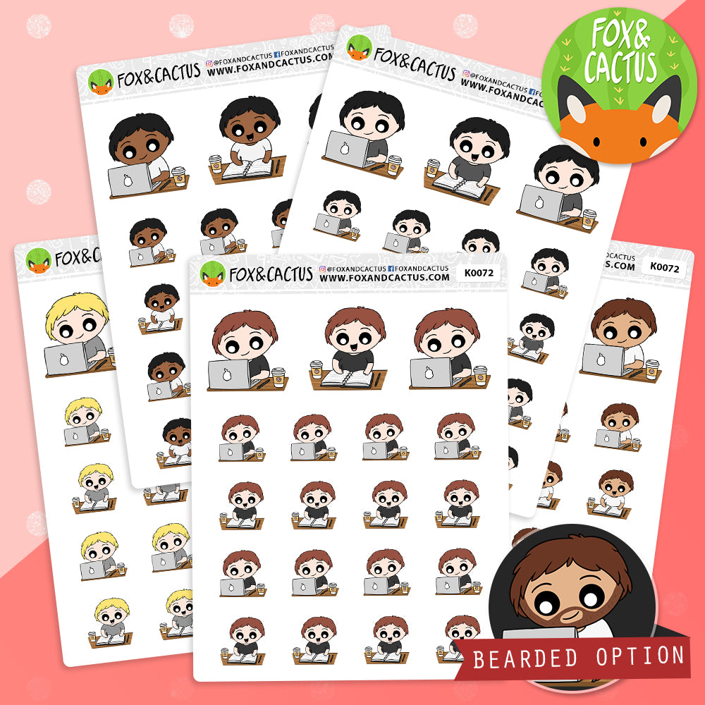Work Kawaii Guy Stickers (K0072)