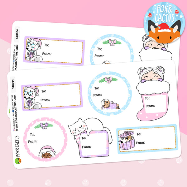 Pastel Christmas Gift Labels (2 SHEETS INCLUDED) (ST0004)