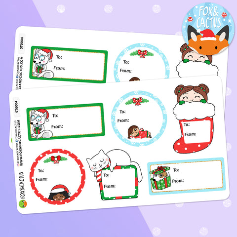 Christmas Gift Labels (2 SHEETS INCLUDED) (ST0004)