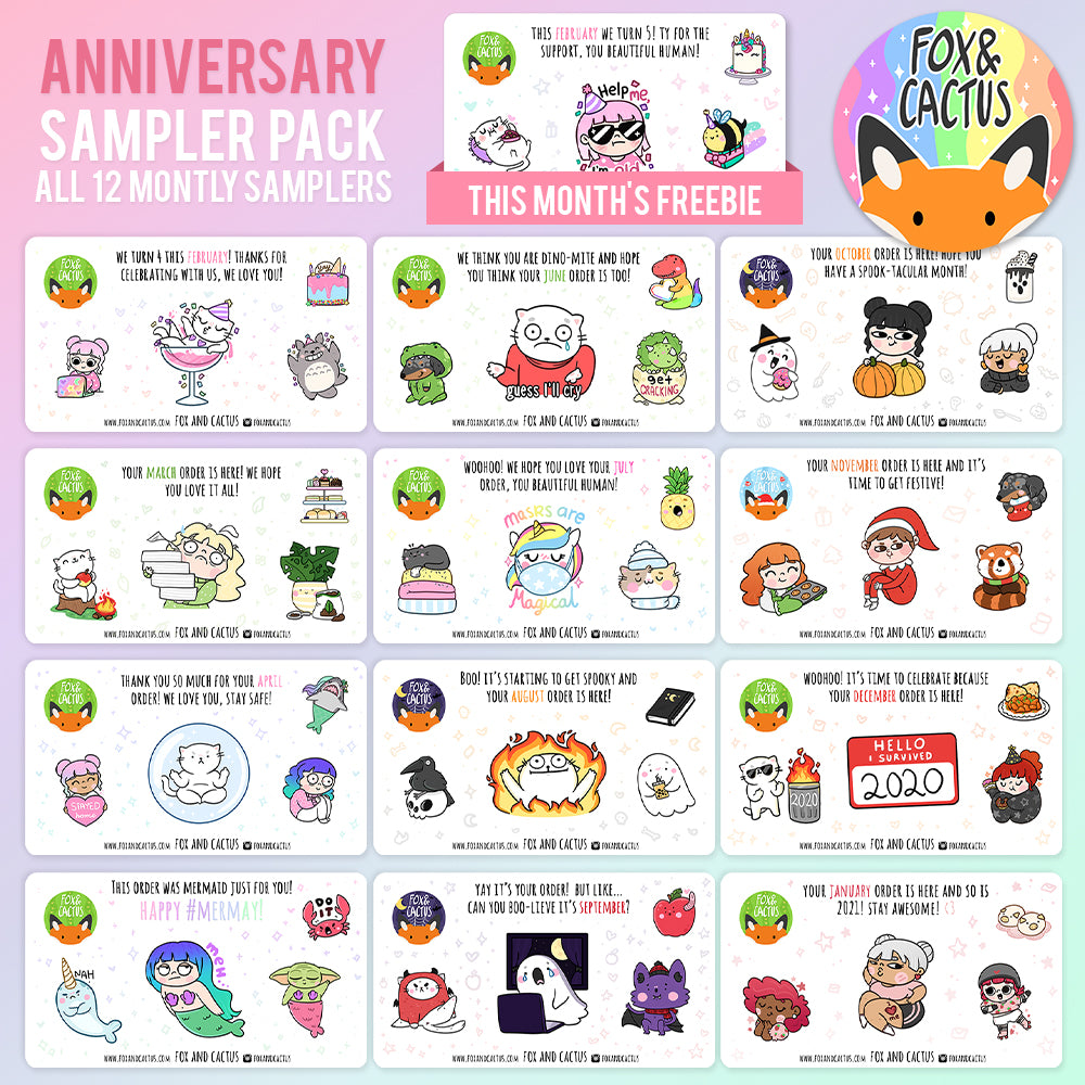 (OVERSTOCK) Anniversary Sampler Pack (12 months of Fox and Cactus Monthly Samplers) (ST0221)