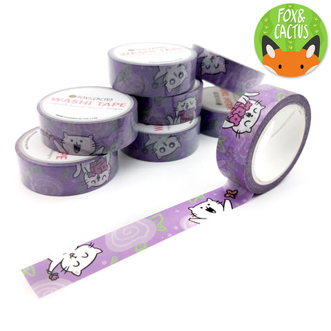 Purple Floral Cats Washi Tape (W0003)