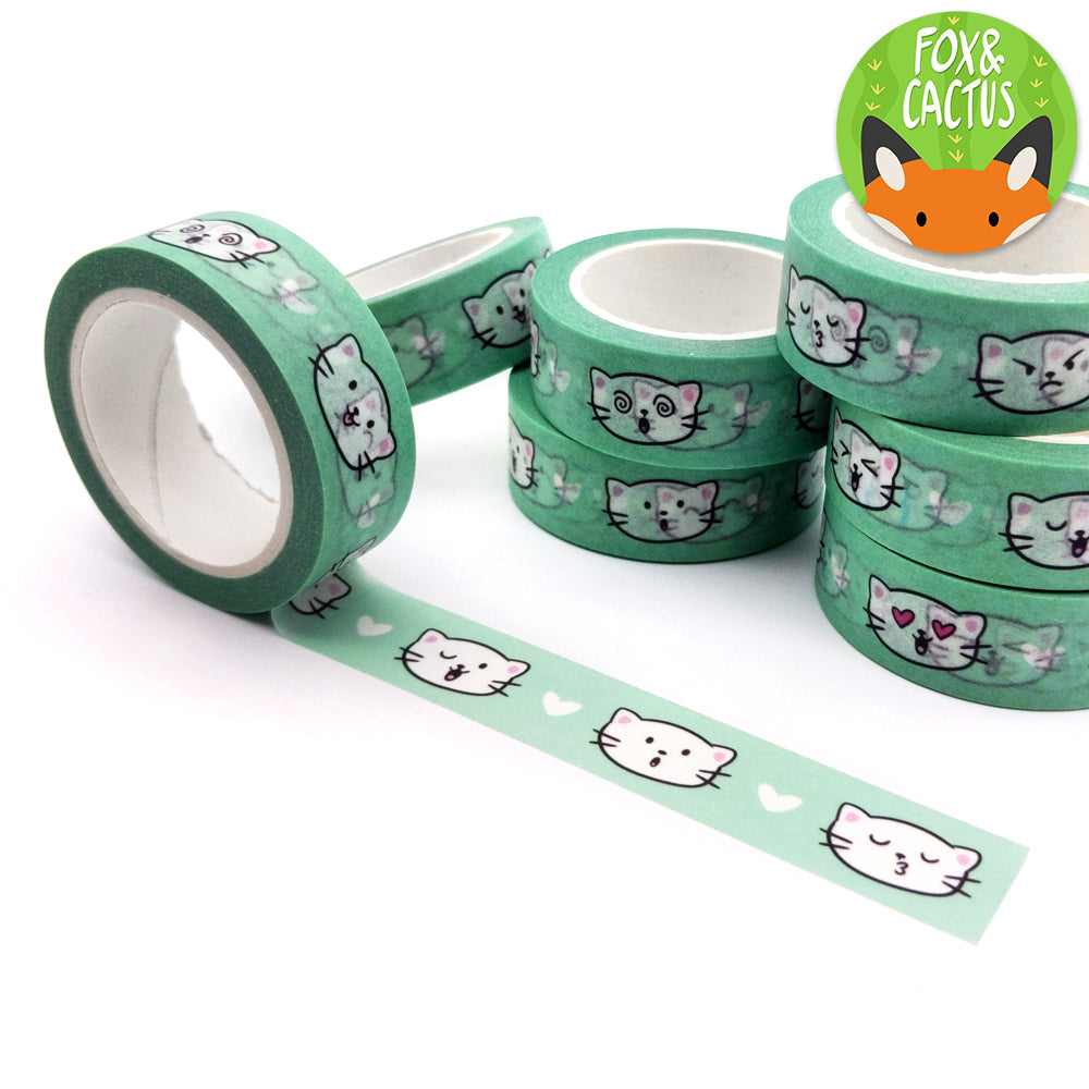 Green Cat Emoji Face Washi Tape (W0004)