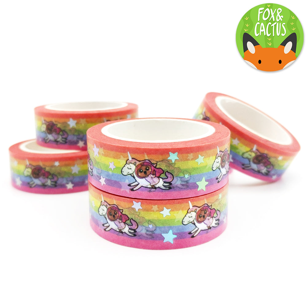 Holo Foil Rainbow Unicorn Girls Washi Tape (W0030)