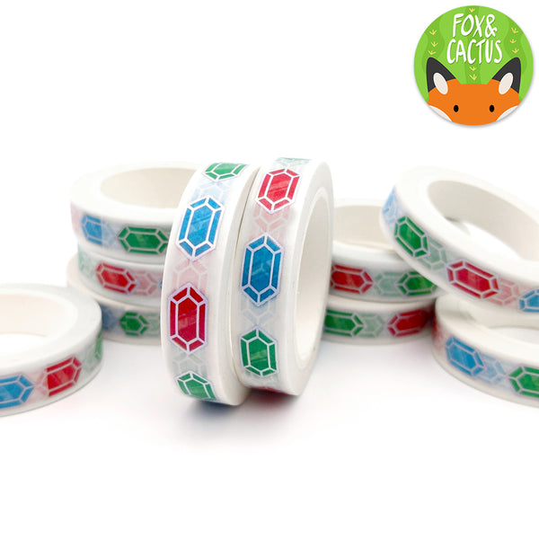 Holo Foil Rainbow Gems 10mm Vertical Washi Tape (W0040)