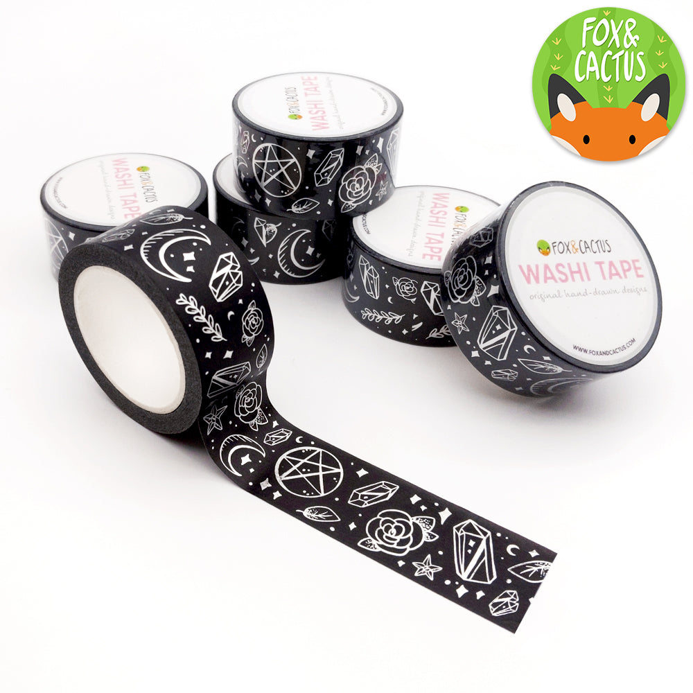Silver Foil Witchy Vibes Black 22mm Washi Tape (W0062)