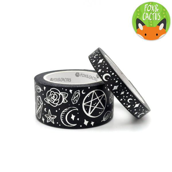 Silver Foil Witchy Vibes Black Washi Tape Set (W0062 + W0063)