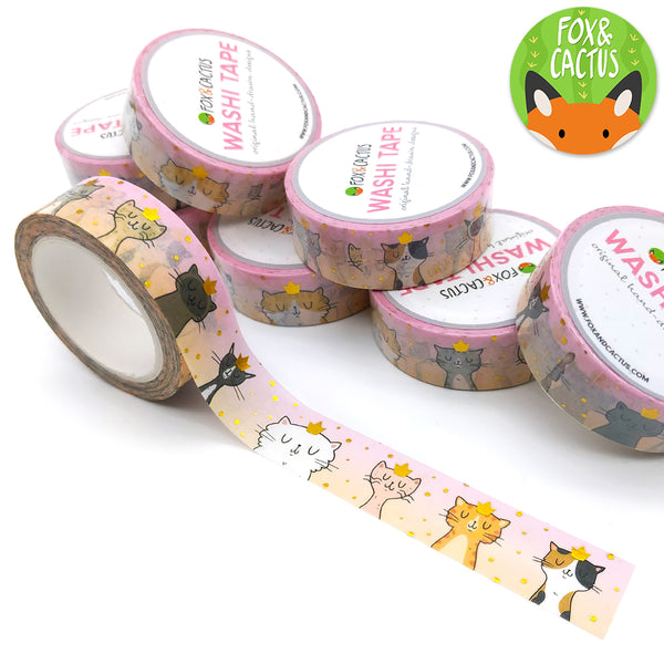 Gold Foil Royal Cats Washi Tape (W0066)